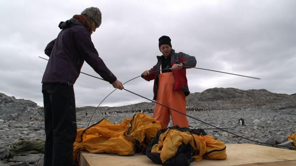 Jen and Oscar Schofield build a tent on Avian Island, Jan 2013.